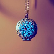 Vendimia Luminoso Circular Hueco Foto Caja Colgante Collar Suéter Cadena