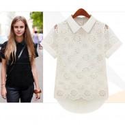 Camisa dulce de encaje de cuello de muñeca con cuello en V hueco irregular hacia fuera