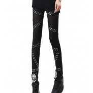 Vintage Rivets Stitching Mesh Pants& Leggings
