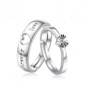 Hueco En forma de corazón Diamante de imitación 925 letras Plata Par Apertura anillos