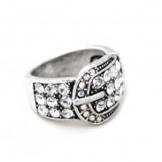Retro Único Hebilla Patrón Diamante de imitación anillo