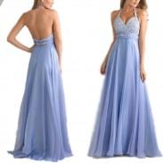 Elegante de malla de las mujeres una línea de lentejuelas con cuello en v sin respaldo volantes de gasa vestidos de noche formales vestidos de baile largo vestido largo maxi