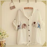 Lindo parche bordado de elefante con capucha Flip Cuff suelta camisa de gasa