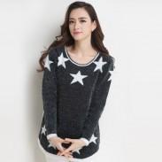 Nuevo dama Moda gris Estrella Hipocampo Suelto Suéter
