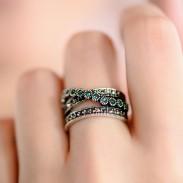 Vendimia Doble Fila Verde Cristal anillos