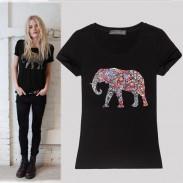 Camisa de manga corta con cuello redondo de elefante delgado