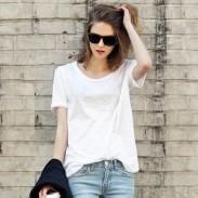 Camiseta de manga corta de algodón de cuello redondo sólido simple casual
