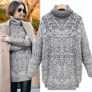 Gruesa cuello alto, hendidura, tejer, suéter torcido
