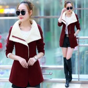 Chaqueta delgada / abrigo largo de lana dulce medio