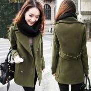 Abrigo de lana de mujer de botón vintage