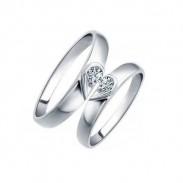 Letras 925 Plata Par Mitad Corazón Diamante de imitación anillo