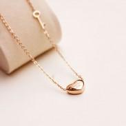 Colgante de corazón único Collar de oro clave