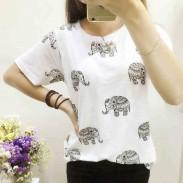 Patrón de elefante hueco hueco Camiseta de manga corta redonda suelta