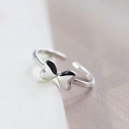 Dulce Encantador Libra esterlina Plata Dos Corazón Arco polaco Apertura anillo