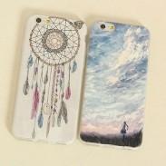 Carcasa de iPhone 6 / 6s de Silicone del silicón del cielo azul ultra fino del carillón de viento