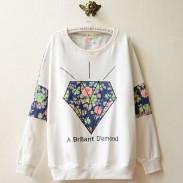 Suéter de manga larga con estampado floral de diamantes de estilo universitario