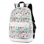 Mochila de dibujos animados de la Torre Eiffel Sweet School Mochila de viaje de lona linda mochila escolar