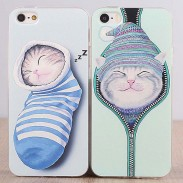 Linda Gato Animal Silicona Fundas Iphone 4s / 5c / 5s / 6