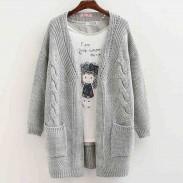 Las mujeres de manga larga de punto cardigan suéter flojo Outwear Coat Sweater