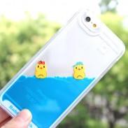 Linda Baños Pequeño Pato Uno Pieza Azul Líquido Fundas para iPhone 5 / 5S / 6 / 6S