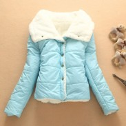 Abrigo corto de chaqueta de algodón cálido y cálido de lana
