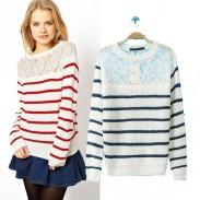 Suéter de rayas de encaje con encaje ahuecado