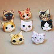 Mode animal mignon de bande dessinée chat chien canard chien robot femmes Kitty boucles d'oreilles