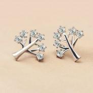 Pendientes del Rhinestone de la plata del árbol de la creatividad de la moda 925 espárragos