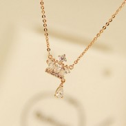 Rosa Oro Real corona Diamante Colgante dama Collar