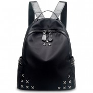 Puro Negro X Remache Oxford Impermeable Mochila Punk Ocio Colegio Bolso Mochila de viaje
