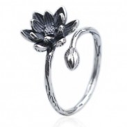 Retro Girl's Vivid Stereo Lotus Flower Old Way Silver Open Ring