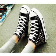 Zapatos de lona con tacón alto y remache estilo punk