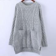 Suéter de cuello redondo de punto suelto de universidad Suéter de color sólido de rombo
