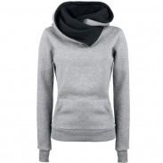 Simple Turn-down Collar Hoodie Pullovers Escudo Otoño De las mujeres Grueso chaqueta suéter