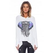 Conciso Estilo En Bosquejo Color Impresión Elefante Patrón Camisa
