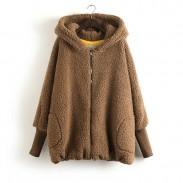 Oso espesar con capucha suelta abrigo cálido
