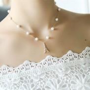 Perla Perla Torre Eiffel Camelia Clave Colgante Collar de Diamantes Joyas