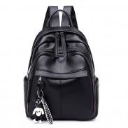 Moda impermeable negro puro PU Nylon School Bag estudiante mochila