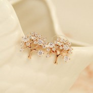 Árbol De La vida Hueco Embutido Diamante Moda Brillante dama Aretes