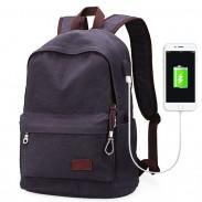 Bolso de la escuela de ocio de los hombres simples Interfaz USB Mochila de viaje de la lona grande