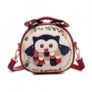 Lolita Patch dulce del búho color mezclado Bolsa de mensajero Bolsa circular Bolsa de hombro
