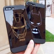 Negro único de dibujos animados Batman Iron Man Hero Iphone 6 / 6s / 6 plus / 6s plus / 7 / 7plus Iphone X casos