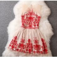 Vestido bordado de organza barroco