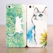Casos lindos frescos de Iphone 5 / 5s / 5c / 6 / 6s del silicón del modelo de la historieta del gato