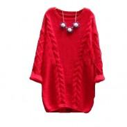 Aflojar el suéter de cuello redondo Twist retro Suéter de punto de color sólido