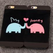 Encantador Animales Amante Elefantes Pareja Escarchado Fundas para iPhone 4 / 4s / 5 / 5s / 6 / 6p