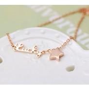 Carta de Lucky Star chapado en oro collar