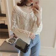 Fashion Girl's Spread Collar Flare manga larga ahuecada transparente suéter irregular
