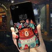 Oso en relieve de dibujos animados lindo Hello Flowers Iphone 6 / 6s / 6 plus / 6s plus / 7/7 plus Case Iphone Cover