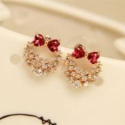 Elegante Plata Aguja Lolita Cristal Arco Brillante Anadem Diamante Aretes pernos prisioneros